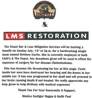 flyers about the fundraiser that lms restoration held to sponsor a girl with cholesteatoma.